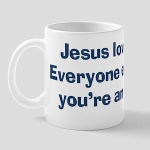 jesuslovesyouassholeBUMPER Mug