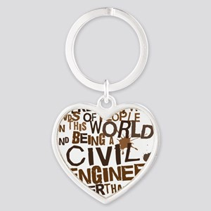 civil_engineer_two_brown Heart Keychain