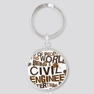 civil_engineer_two_brown Round Keychain