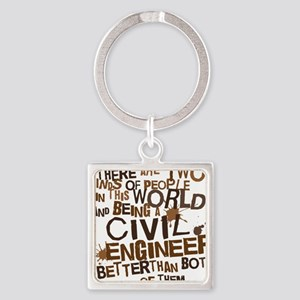 civil_engineer_two_brown Square Keychain
