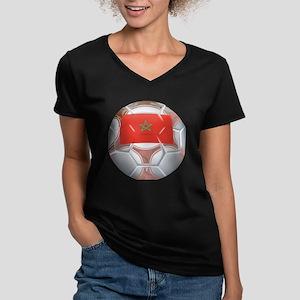 Morocco Soccer Women's V-Neck Dark T-Shirt