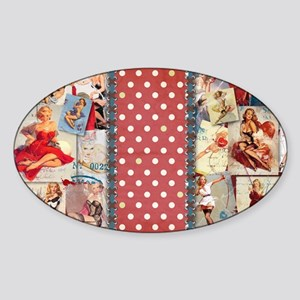CLUTCH_Pin-Up_Red-01 Sticker (Oval)