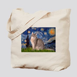 Starry / Blue Abyssinian cat Tote Bag