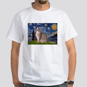 Starry / Blue Abyssinian cat White T-Shirt