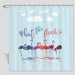 What The Flock Colorful Flamingos Shower Curtain