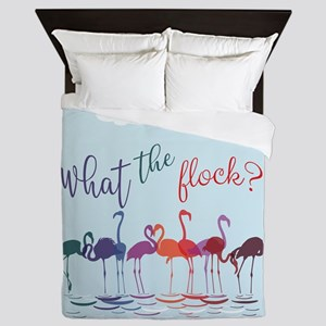 What the Flock Colorful Flamingos Queen Duvet