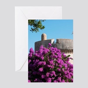 The city wall with tower and tower D Greeting Card