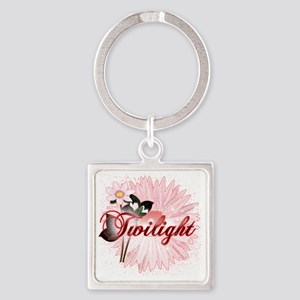 twilight pink magic flowers by twi Square Keychain