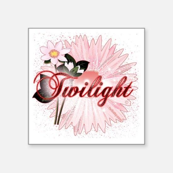 "twilight pink magic flowers Square Sticker 3"" x 3"""
