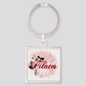 pilates with pink flowers 2 copy Square Keychain