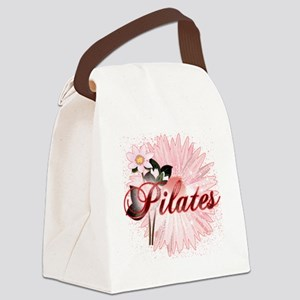 pilates with pink flowers 2 copy Canvas Lunch Bag