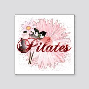 """pilates with pink flowers 2 Square Sticker 3"""" x 3"""""""