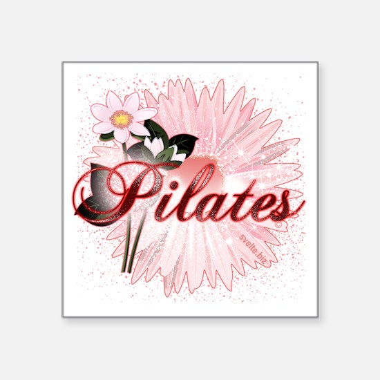 "pilates with pink flowers 2 Square Sticker 3"" x 3"""