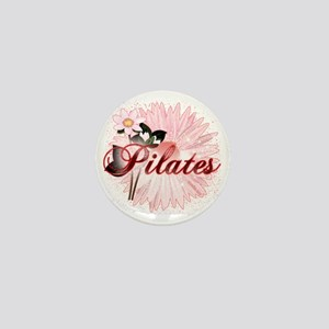 pilates with pink flowers 2 copy Mini Button
