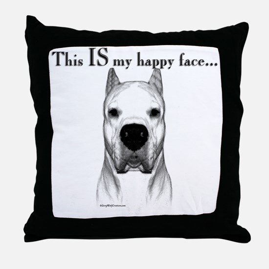 Dogo Happy Face Throw Pillow