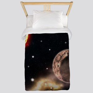Sun planets space scene glowing s Twin Duvet Cover