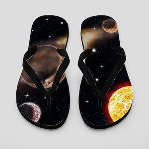 Sun planets space scene glowing stars n Flip Flops