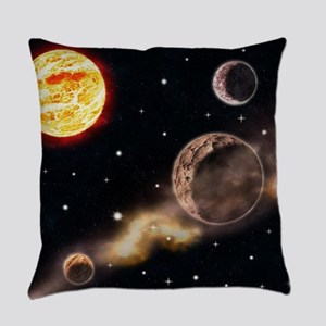 Sun planets space scene glowing st Everyday Pillow