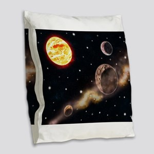 Sun planets space scene glowin Burlap Throw Pillow