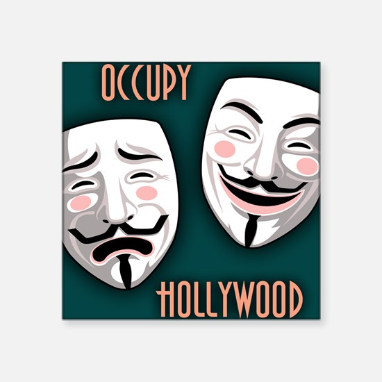 """occupy-hollywood-BUT Square Sticker 3"""" x 3"""""""