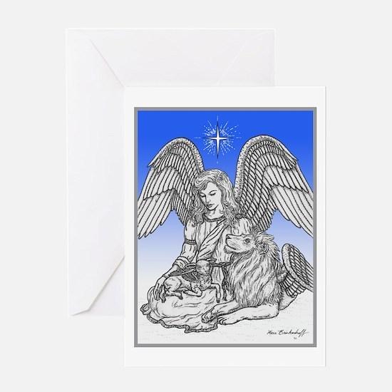 Angel, Lion & Lamb Card Greeting Cards