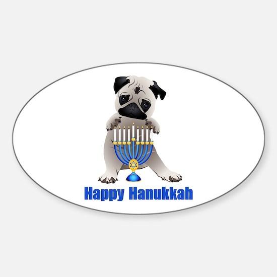 Happy Hanukkah Pug and Menorah Sticker (Oval)