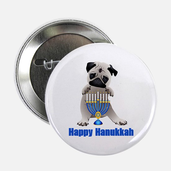 "Happy Hanukkah Pug and Menorah 2.25"" Button"