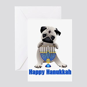 Happy Hanukkah Pug and Menorah Greeting Card