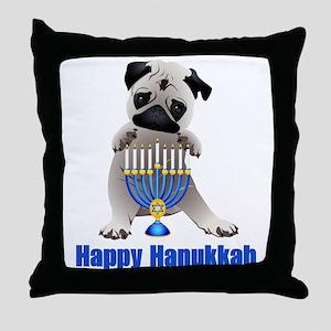 Happy Hanukkah Pug and Menorah Throw Pillow