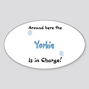 Yorkie Charge Oval Sticker