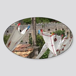 Village of Poljica. Local embroider Sticker (Oval)