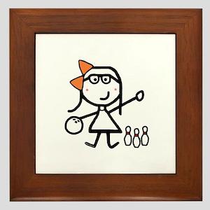 Girl & Bowling Framed Tile