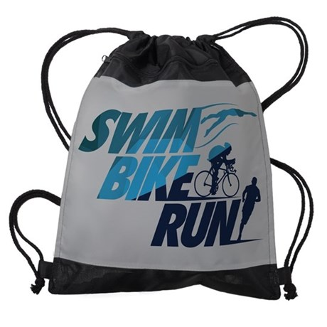 Swim Bike Run Split Blue FB Drawstring Bag