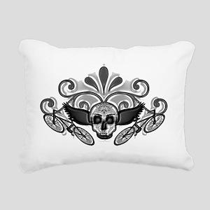 SkullBikerMenGray Rectangular Canvas Pillow