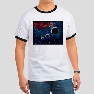 Space scenery with globe planets nebula du T-Shirt