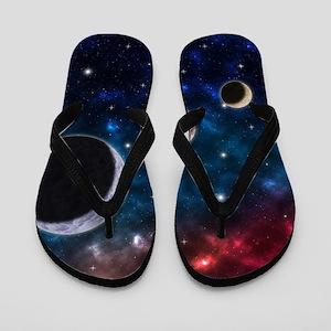 Space scenery with globe planets nebula Flip Flops