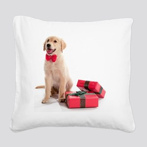 Kozzi-Bow-Tie-Present-Puppy-6 Square Canvas Pillow
