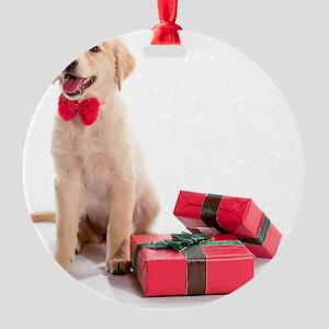 Kozzi-Bow-Tie-Present-Puppy-6610x49 Round Ornament