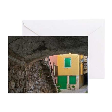Arched alley of cobblestones, Rovign Greeting Card