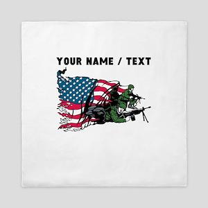 Custom American Soldiers Queen Duvet