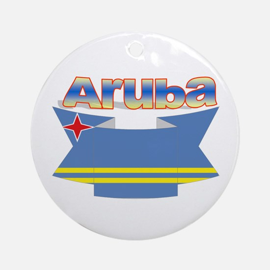 Aruba's flag ribbon Ornament (Round)