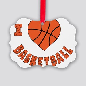wh  orange, Love Basketball Picture Ornament