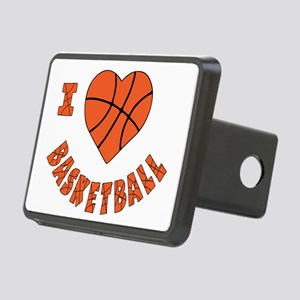 wh  orange, Love Basketbal Rectangular Hitch Cover