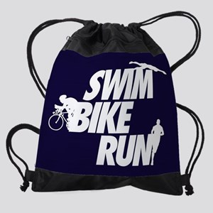 Swim Bike Run Dark V1 FB Drawstring Bag