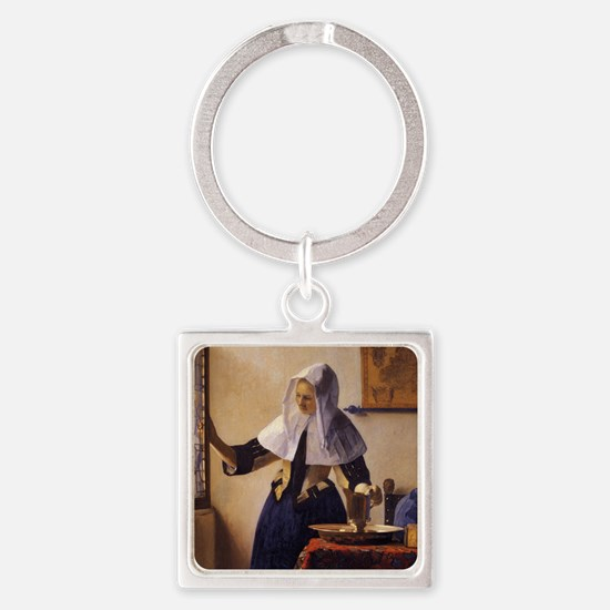 Young Woman with a Water Pitcher Square Keychain