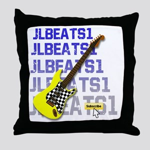 JLBEATS1 Suscribe Yellow Guitar 3B Throw Pillow