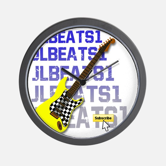 JLBEATS1 Suscribe Yellow Guitar 3B Wall Clock