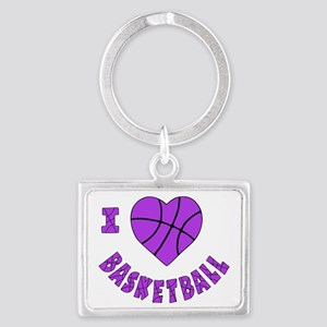 wh  lavendar, Love Basketball Landscape Keychain