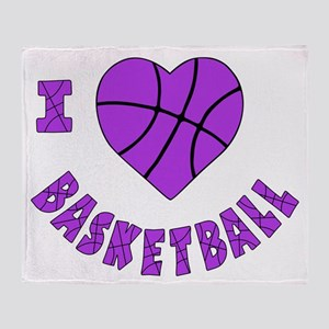 wh  lavendar, Love Basketball Throw Blanket