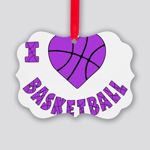 wh  lavendar, Love Basketball Picture Ornament